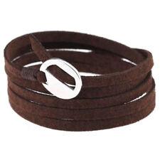 Retro Leather Wrap Cuff Bracelet Multi Layer Punk Wristband for Women Lady