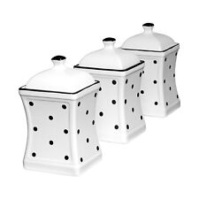 52b3731deee7 Handmade White and Black Polka Dot Ceramic Canister Set Tea Coffee Sugar  Jars