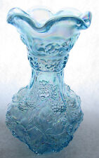 """Imperial Carnival Glass: """"Loganberry"""" 10 inch vase - Ice Blue"""
