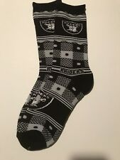Oakland Raiders Plaid Sweater Holidays Adult Socks-1 Pair-Lrg New Free SH (P)