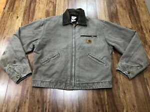 MENS LARGE - Carhartt J97 Sandstone Blanket Quilt Lined Detroit Jacket USA