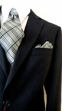 CARLO LUSSO 2B MEN'S SUIT SOLID DARK NAVY BLUE 40R 40 R FREE FAST SHIP & TIE SET