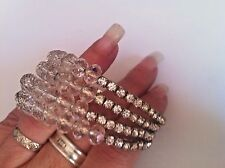 MULTI COIL MEMORY WIRE BRACELET diamante and genuine crystal beads silver plated
