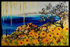 """Eze Village"" by Duaiv  (Framed Flower Fine Art Mixed Media on Canvas)"