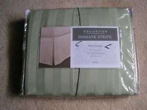 COLLECTIONS CHARTER CLUB BEDSKIRT DAMASK STRIPE PALMETTO GREEN NEW KING