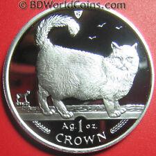 1998 Isle Of Man 1 Crown 1oz Silver Proof Birman Cat Feline World Coin 39mm