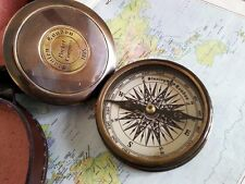 "Vintage Nautical Brass Compass 3"" Robert Forst Poem Engraved Antique Compass"