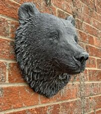STONE GARDEN LARGE DETAILED BEAR HEAD WALL HANGING PLAQUE ORNAMENT