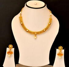 Fashion Party Wear Pearl Jewelry Set Indian Ethnic Necklace Earring Gold Plated