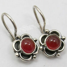 "Weight 2.3 gms, 925 Sterling Silver RED CARNELIAN HANDMADE Earrings 0.7"" Jewelry"