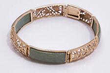 VINTAGE 9ct Giallo Oro & Jadeite jade Bracelet