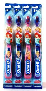 4 Ct Oral-B Disney Princess Extra Soft Pink & Purple Toothbrush Age 3 Years & Up