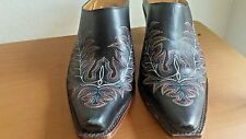 Charlie 1 Horse Leather Mules Slip on Cowboy Boots Lucchese Size 8 B