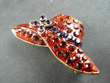 Purple Rhinestones Womans Hat (Br15) Gold Tone Pin Brooch Red