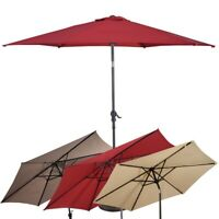 10 ft 6 Ribs Patio Umbrella with Crank Outdoor Garden Structures Shade