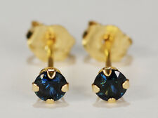 BEENJEWELED GENUINE NATURAL MINED BLUE SAPPHIRE EARRINGS~14 KT YELLOW GOLD~3MM