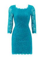 Diane von Furstenberg Women's Dress Green Size 4 Sheath Floral Lace $348- #113