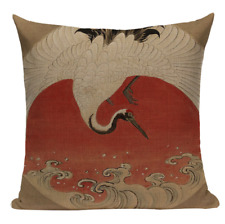 Crane JP4 Cushion Pillow Cover Japanese Painting Vintage Japan Animal White Bird