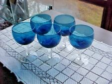"""Blue Wine Glasses 5 Total With Clear Stem Hand Blown Holds 6 Ounces 4-3/4"""" Tall"""
