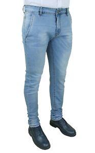 Jeans pantaloni uomo celeste Denim chiaro slim fit casual stretch da 44 a 52