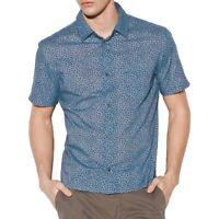 John Varvatos Star USA Men's Short Sleeve Untucked Polka Dot Print Shirt Indigo
