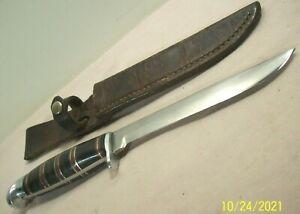 1930s~WESTERN~PAT. 1967479~FINE ANTIQUE HUNTING & FISHING KNIFE w/LEATHER SHEATH