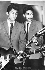"""THE BLUE DIAMONDS"" ROCK 'N ROLL DUO DUTCH BROS. 1962 CHROME POSTCARD"