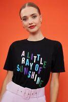 BNWT COAST Ray of SUNSHINE Slogan T-Shirt BLACK Summer Size SMALL UK 8 10