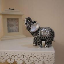 HOMEZONE Shabby Chic Silver Mosaic Buddha Indian Elephant Home Decor Ornament