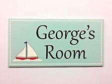 Boat Personalised Door Name Plaque Girls Bedroom Room Sign Kids Children Boy [R]