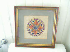 Nice Old Framed Pa Dutch Needlework Silk on Linen Hex Sign