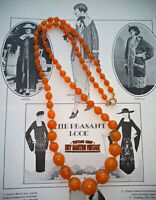 ANTIQUE ART DECO BOHEMIAN CZECH OPALINE AMBER GLASS BEADS FLAPPER NECKLACE GIFT