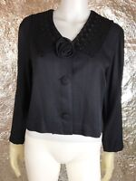 Women's Vintage 1980's Black Embroidered Crop Blazer, Size 5/6, Pre-Owned