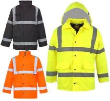 Hi Viz Vis Security Work Contractors Jacket Waterproof Hooded Safety Coat