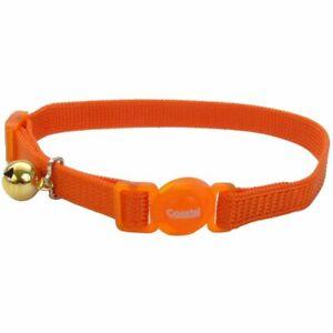 Coastal Safe Cat Adjustable Snag-Proof Nylon Breakaway Collar Sunset Orange...