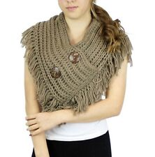 Women Winter Fall Knited Shawl Wrap Scarf Infinity Collar With Buttons