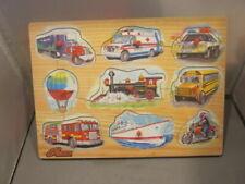 VtgVINTAGE Wood N' Things Brand Transportation Children's Peg Puzzle