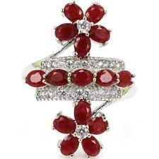 Ravishing Flowers Shape Real Red Ruby White CZ Wedding Silver Ring US 8.5#