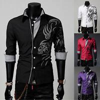 Herren Hemd Langarm Hemden Freizeithemd Drachenmuster Longsleeve Shirts XS-XL
