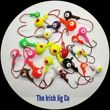100 -- 1/8 OZ JIG HEADS W/BARB #2 RED MATZUO SICKLE HOOK PAINTED ALL EYES OPEN!