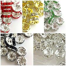 Czech Crystal Rhinestone Rondelle Spacer Beads Gold Silver Green Red Wavy 15pcs