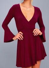 Plot Twist Burgundy Flounce Sleeve Deep V-Neck Siren Seduction Wrap Dress Sz L