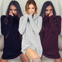 US Womens Oversized Jumper Ladies Long Sleeve Chunky Knitted Long Sweater Tops