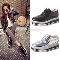 Womens Shiny Square Toe Lace Up Punk Emo Platform Brogue Oxford Shoes A-8186
