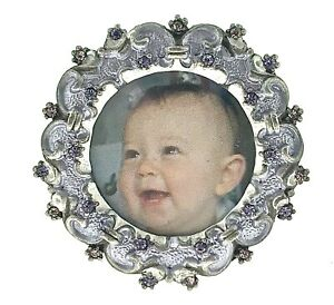 Mini Round Picture Frame 031PP Made with Swarovski Crystal Cute Baby Photo Frame
