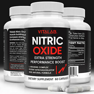 Nitric Oxide Booster Extra Strength Capsules L-Arginine Supplement Muscle Growth