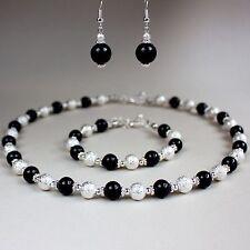 Black pearls collar necklace earrings silver wedding bridesmaid jewellery set
