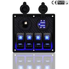 Car Marine Boat 4-Gang Waterproof Circuit Blue 2 LED Rocker Switch Panel Breaker