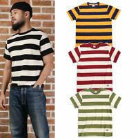 NON STOCK Stripes Heavyweight Men Women Tee Shirts Prison Casual Cotton T-Shirts