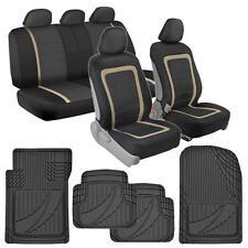 Performance Car Seat Covers Black/Beige + FlexTough Rubber Floor Mats for Auto